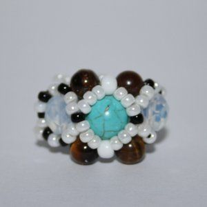 Beautiful turquoise opalite beaded ring size 8